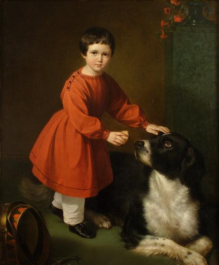 Ребенок не испытывает страха перед собакой.