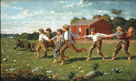 Играющие дети. Homer. Snap the whip, 1872. Oil on canvas