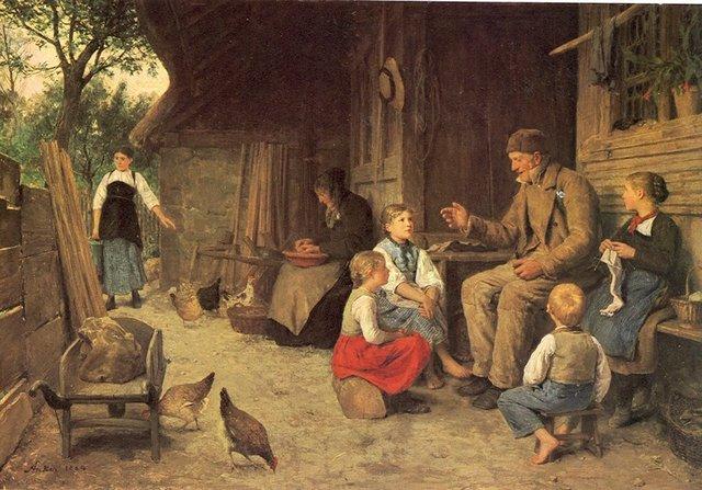 Рассказ родителям о детях. Albert Anker - Grandfather Tells a Story