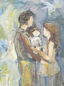 Материнская и отцовская любовь. Папа и мама с ребенком.